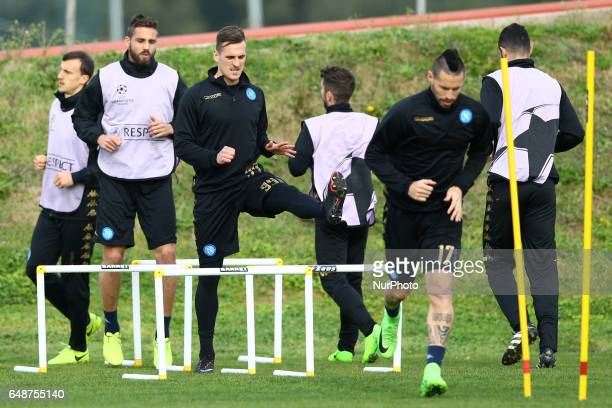 training session in view of the Round of 16 2nd leg match vs Real Madrid Arkadiusz Milik and Leonardo Pavoletti at Castelvolturno Sport Center in...