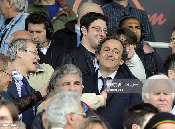 Uefa president Michel Platini attends the Serie A match between Novara Calcio and Juventus FC at Silvio Piola Stadium on April 29 2012 in Novara Italy