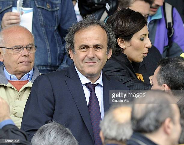 Uefa president Michel Platini during the Serie A match between Novara Calcio and Juventus FC at Silvio Piola Stadium on April 29 2012 in Novara Italy