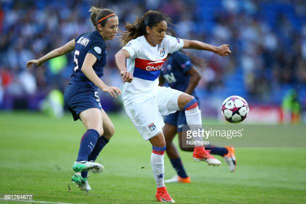 Uefa Women's Champions League Final Olympique Lyonnais v Paris Saint Germain Sabrina Delannoy of Paris SaintGermain and Amel Majiri of Olympique...