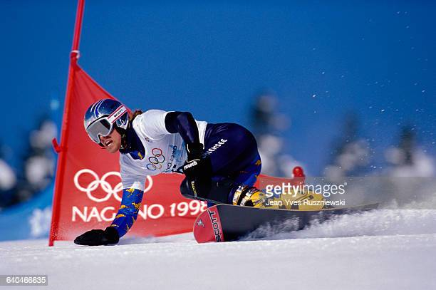 Ueli Kestenholz of Switzerland competes in the men's giant slalom snowboarding event at the Winter Olympics He went on to win the bronze medal