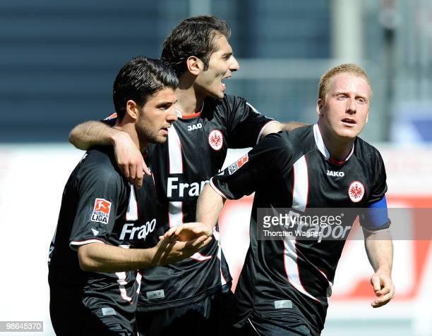 Uemit Korkmaz Halil Altintop and Patrick Ochs of Frankfurt celebrate the 10 from Alexander Meier during the Bundesliga match between FSV Mainz 05 and...
