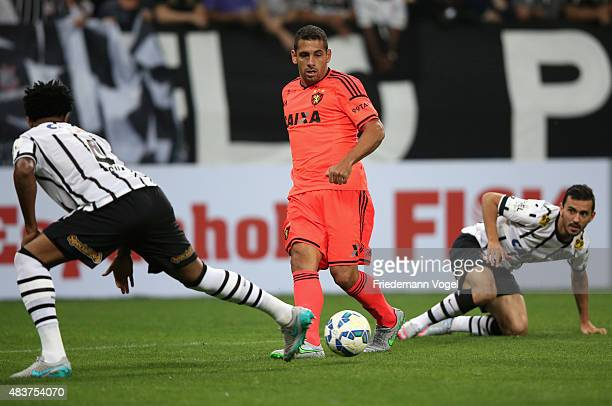 Uendel and Gil of Corinthians fights for the ball with Diego Souza of Sport during the match between Corinthians and Sport Recife for the Brazilian...