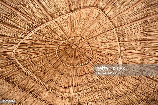 Detail of the inside of a tiki umbrella in Belize.