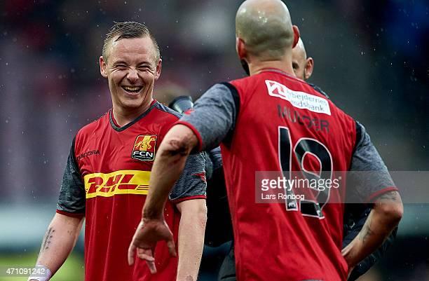Uffe Bech of FC Nordsjalland and Hans Mulder of FC Nordsjalland celebrate their victory after the Danish Alka Superliga match between FC Nordsjalland...
