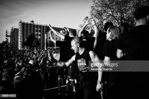 Uffe Bech of Hannover 96 celebrates together with their supporters the promotion to 1 Bundesliga at Neues Rathaus on May 22 2017 in Hanover Germany...