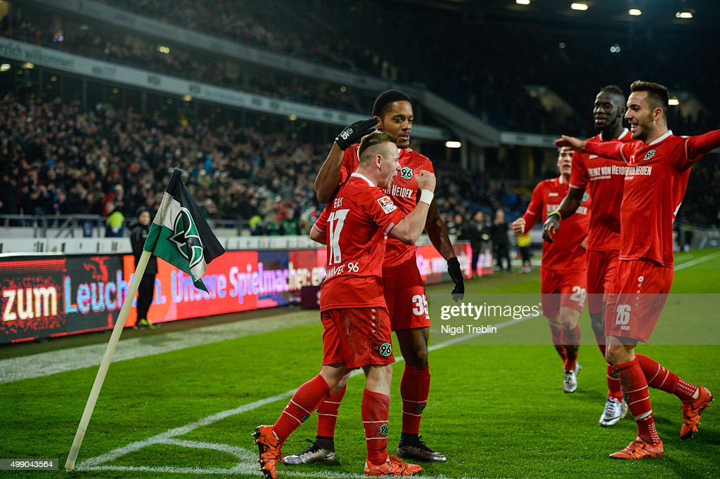 Uffe Bech of Hannover celebrates scoring his goal during the Bundesliga match between Hannover 96 and FC Ingolstadt at HDI Arena on November 28 2015...