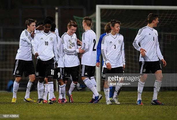 Ufuk Akyoi of Germany celebrates his team's fifth goal with team mates during the U16 international friendly match between Germany and Italy on March...