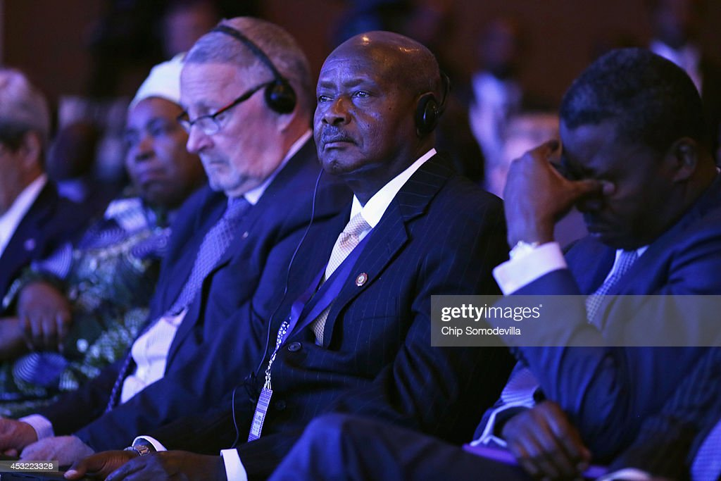 Uganda President Yoweri Museveni and other African leaders listen to US President Barack Obama deliver closing remarks during the USAfrica Business...