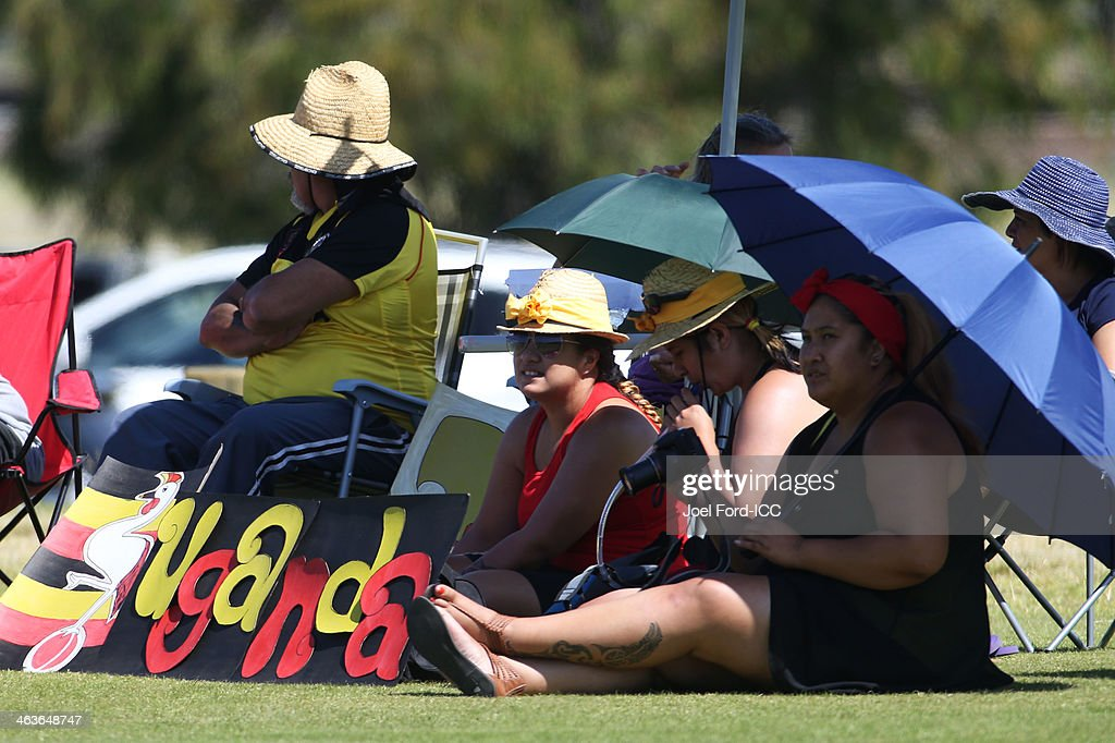Uganda supporters watch an ICC World Cup qualifying match against Uganda on January 19, 2014 in Mount Maunganui, New Zealand.