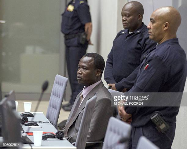 Ugandan commander of the notorious Lord's Resistance Army Dominic Ongwen sits in the courtroom of the International Criminal Court during the...