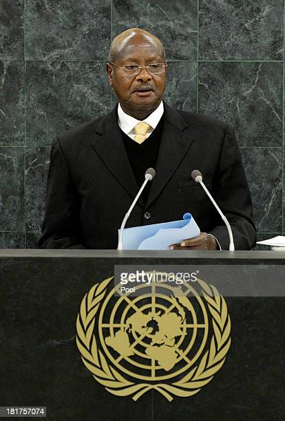 Ugandan President Yoweri Kaguta Museveni addresses the UN General Assembly on September 24 2013 in New York City Over 120 prime ministers presidents...