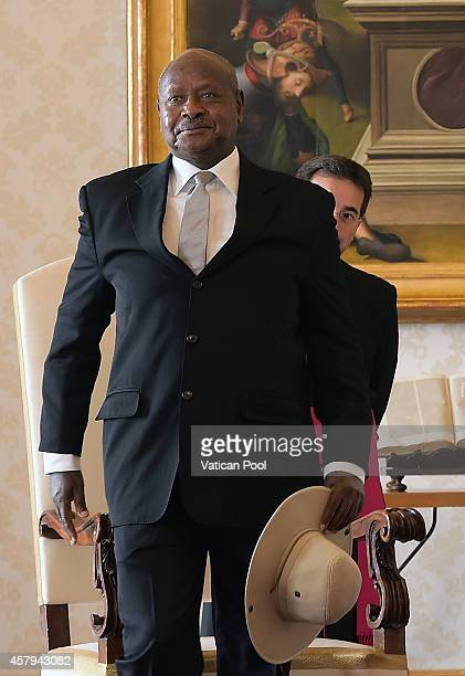 Ugandan President Yoweri Kaguta Museveni attends an audience with Pope Francis at the Apostolic Palace on October 27 2014 in Vatican City Vatican At...