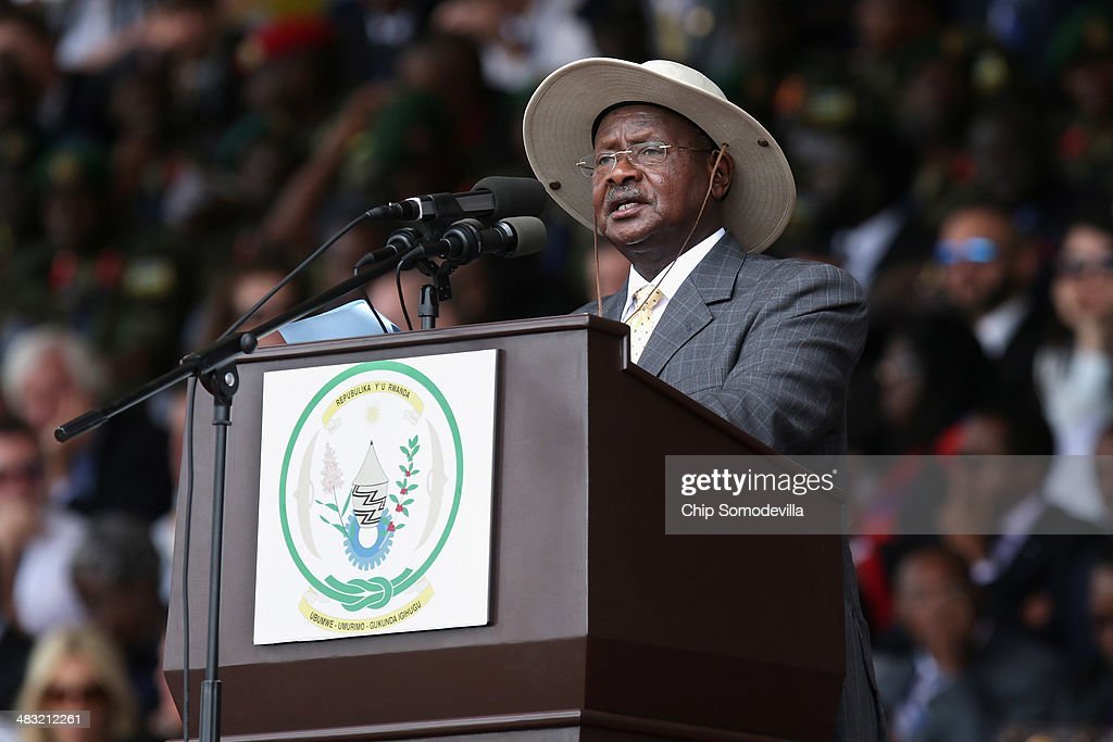Ugandan President Yoweri Museveni addresses the crowd during the commemoration of the 20th anniversary the 1994 genocide at Amahoro Stadium April 7...
