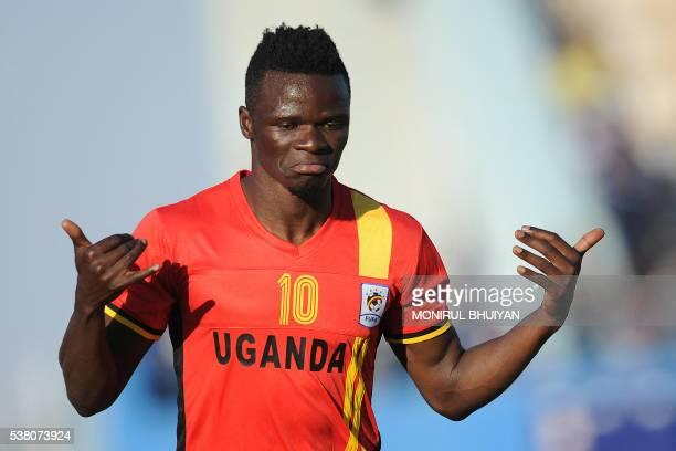 Uganda's midfielder Luwagga Kizito celebrates after scoring a goal during the AFCON 2017 qualifying match Botswana vs Uganda at the Francistown...