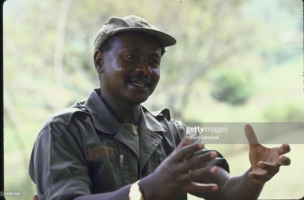 Uganda's President Yoweri K Museveni gesturing