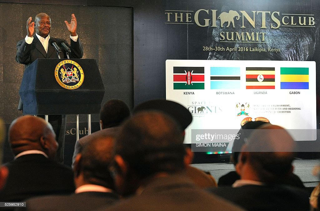 Uganda's President Yoweri Museveni address delegates attending the opening session of the anti-poaching Giants Club Summit meeting in Nanyuki, Laikipia county on April 29, 2016. From anti-poaching commandos deployed by helicopter to boosting court prosecutions: Kenya is hosting a summit on how to end ivory trafficking and prevent the extinction of elephants in the wild. Kenyan President Uhuru Kenyatta is heading the meeting which groups African heads of state and conservationists in the central town of Nanyuki to boost awareness of the threat of poaching. MAINA