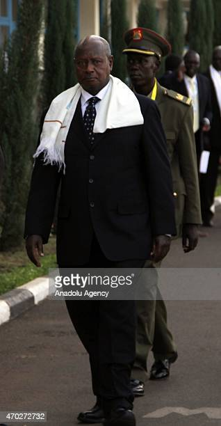 Uganda's President Yoweri Museveni arrives to attend the 4th Tana HighLevel Forum on Security in Africa held in Bahir Dar city on April 18 2015