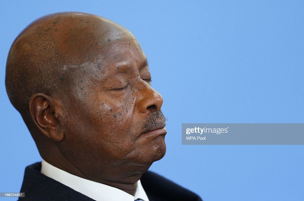 Uganda's President Yoweri Museveni closes his eyes as he listens to opening speechesduring the Somali conference on May 7 2013 in London England The...