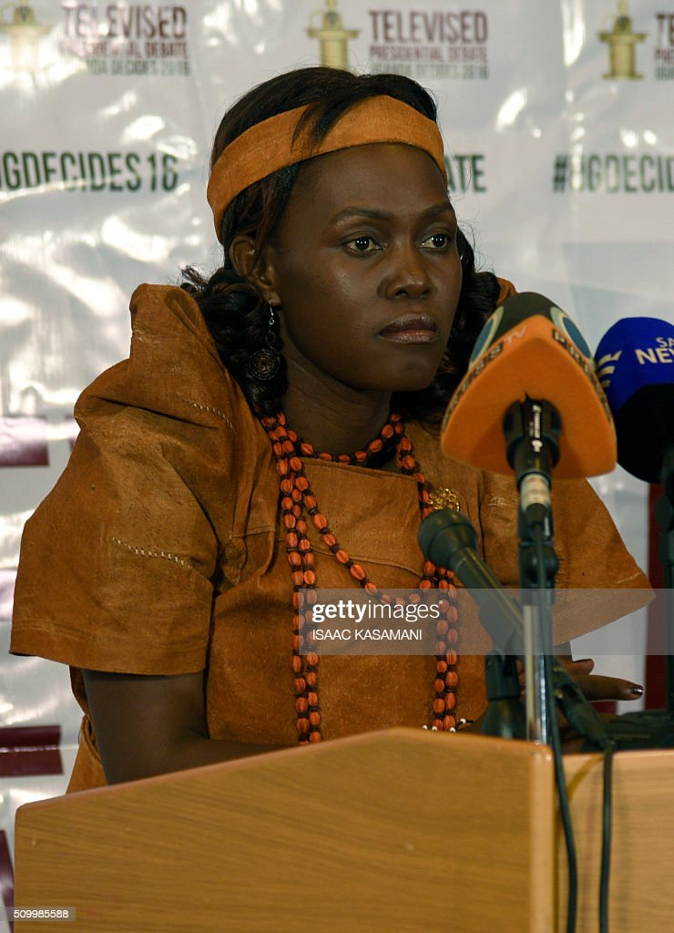 Ugandas Presidential Candidate Maureen Walube Kyalya, address the media in Kampala, on February 13, 2016. The press conference took place before all the presidential candidates joined for the Inter-Religious Council of Uganda organised debate in the Capital Kampala. / AFP / Isaac Kasamani