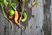 Trendy ugly organic carrot, beetroot and cucumber from home garden