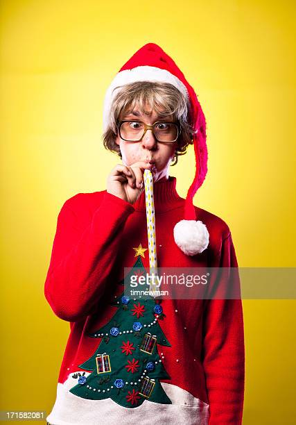 Ugly Sweater Christmas Nerd Boy Portrait Blowing Party Whistle