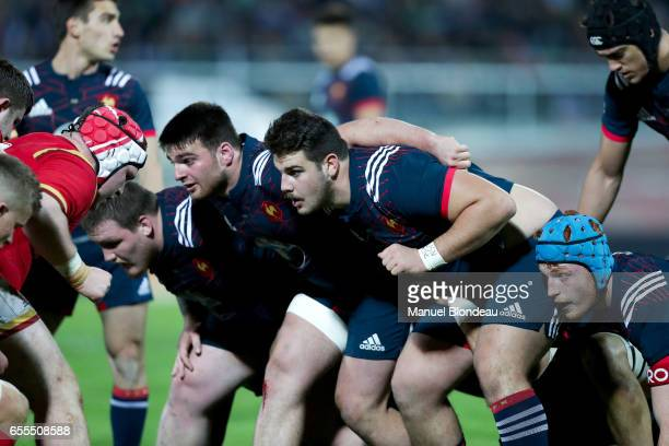 Ugo Boniface and Etienne Fourcade of France during the RBS Six Nations match between France U20 and Wales U20 on March 17 2017 in Montauban France