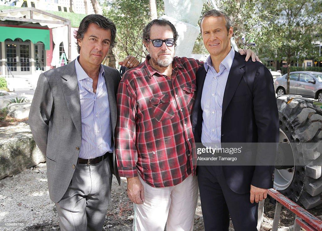 Ugo Colombo Julian Schnabel and Vladislav Doronin are seen at the installation of Julian Schnabel's monumental sculpture 'AHAB' at Miami's Brickell...