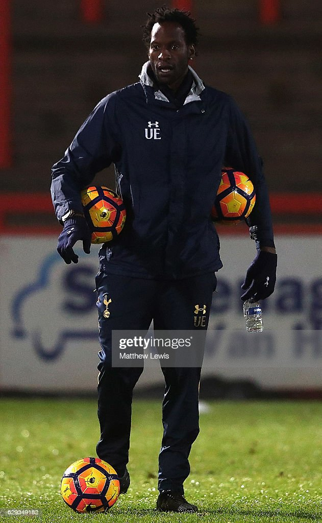 Ugo Ehiogu, Coach of Tottenham, Hotspur looks on during the Premier League 2 match between Tottenham Hotspur and Derby County at The Lamex Stadium on December 12, 2016 in Stevenage, England.