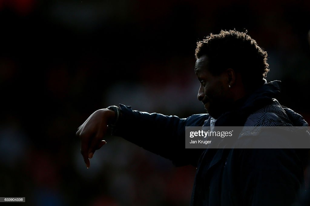 Ugo Ehiogu, coach of Tottenham Hotspur looks on during the Premier League 2 match between Liverpool and Tottenham Hotspur at Anfield on February 5, 2017 in Liverpool, England.