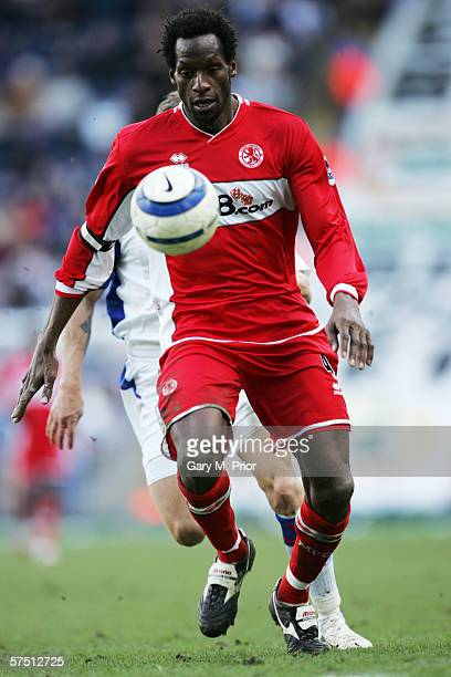 Ugo Ehiogu during the Barclays Premiership match between Blackburn Rovers and Middlesbrough on March 18 2006 in Blackburn England