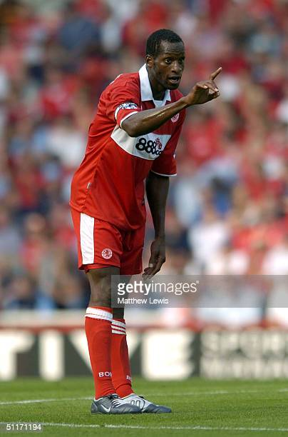 Ugo Ehiogu of Midddlesbrough in action during the Barclays Premiership match between Middlesbrough and Newcastle United at the Riverside Stadium on...