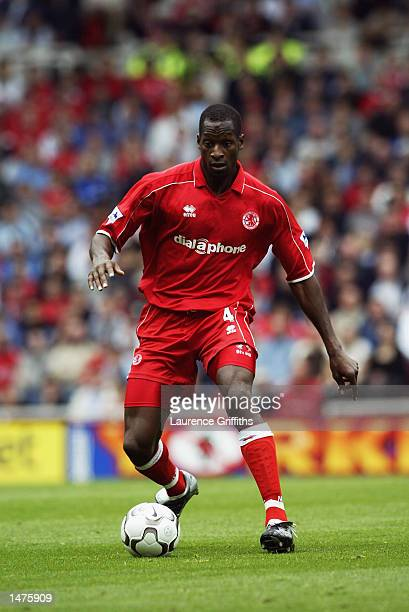 Ugo Ehiogu of Middlesbrough in action during the FA Barclaycard Premiership match between Middlesbrough and Bolton Wanderers on October 5 2002 at the...