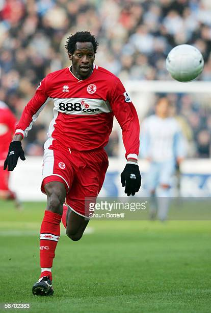 Ugo Ehiogu of Middlesbrough in action during the FA Cup Fourth Round match between Coventry City and Middlesbrough at the Ricoh Arena on January 28...