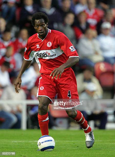 Ugo Ehiogu of Middlesbrough in action during the PreSeason friendly match between Middlesbrough and Atletico Madrid at the Riverside Stadium on...