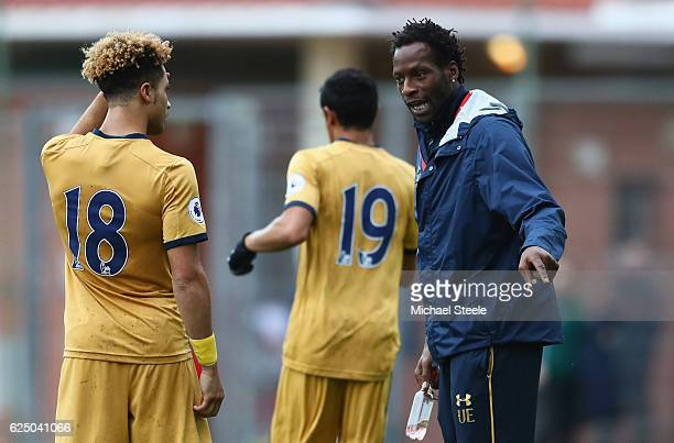 Ugo Ehiogu Tottenham Hotspur Under21 Head Coach in discussion with Keanan Bennetts of Tottenham Hotspur during the UEFA Youth Champions League match...