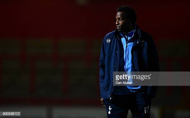 Ugo Ehiogu U21 Coach of Tottenham Hotspur looks on prior to the Barclays U21 Premier League match between Tottenham Hotspur and Southampton at The...