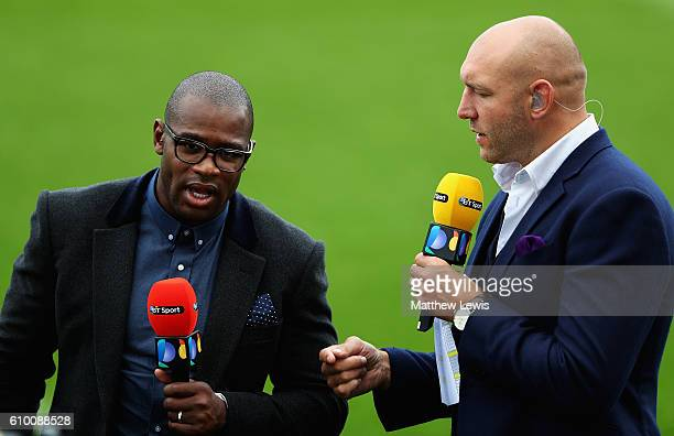 Ugo Monye and Ben Kay of BT Sport pictured during the Aviva Premiership match between Northampton Saints and Wasps at Franklin's Gardens on September...
