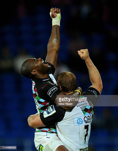 Ugo Monye and Chris Robshaw of Harlequins celebrate victory at the end of the Amlin Challenge Cup Final match between Harlequins and Stade Francais...