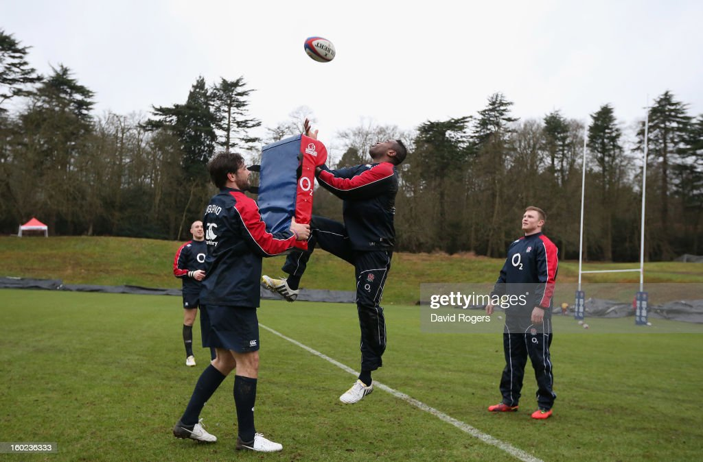 <a gi-track='captionPersonalityLinkClicked' href=/galleries/search?phrase=Ugo+Monye&family=editorial&specificpeople=221264 ng-click='$event.stopPropagation()'>Ugo Monye</a> catches the ball during the England training session held at Pennyhill Park on January 28, 2013 in Bagshot, England.