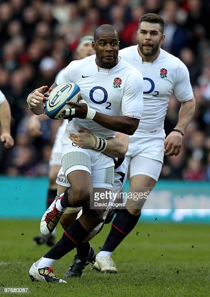Ugo Monye of England surges forward during the RBS Six Nations Championship match between Scotland and England at Murrayfield Stadium on March 13...