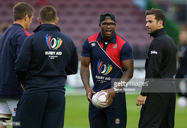 Ugo Monye of England warms up prior to the Rugby Aid 2015 celebrity rugby match between England and the Rest of the World at The Stoop on September 4...