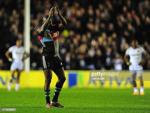 Ugo Monye of Harlequins applauds the crowd as he leaves the field during the Aviva Premiership match between Harlequins and Bath Rugby at Twickenham...