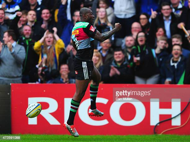 Ugo Monye of Harlequins celebrates as he scores their first try during the Aviva Premiership match between Harlequins and Bath Rugby at Twickenham...