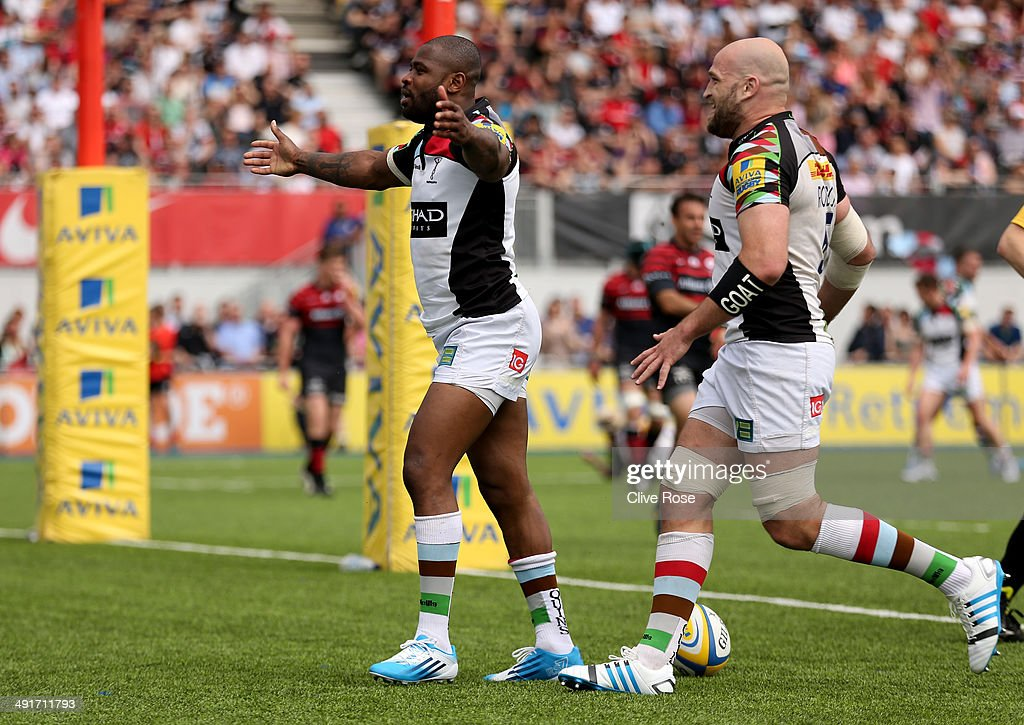 Ugo Monye of Harlequins celebrates his try during the Aviva Premiership Semi Final match between Saracens and Harlequins at Allianz Park on May 17, 2014 in Barnet, England.