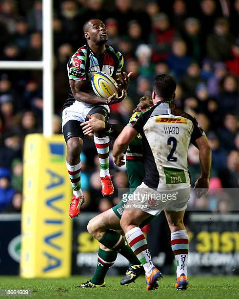 Ugo Monye of Harlequins competes for the arial ball during the Aviva Premiership match between Leicester Tigers and Harlequins at Welford Road on...