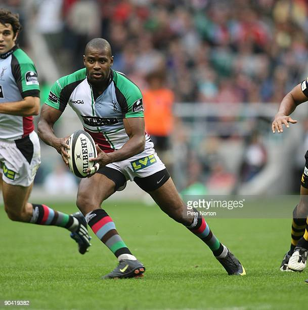 Ugo Monye of Harlequins in action during the Guinness Premiership Match between London Wasps and Harlequins at Twickenham Stadium on September 5 2009...