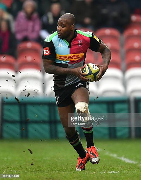 Ugo Monye of Harlequins in action during the LV=Cup match between Gloucester Rugby and Harlequins at Kingsholm Stadium on February 07 2015 in...