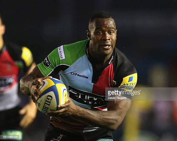 Ugo Monye of Harlequins runs with the ball during the Aviva Premiership match between Harlequins and London Welsh at Twickenham Stoop on September 7...