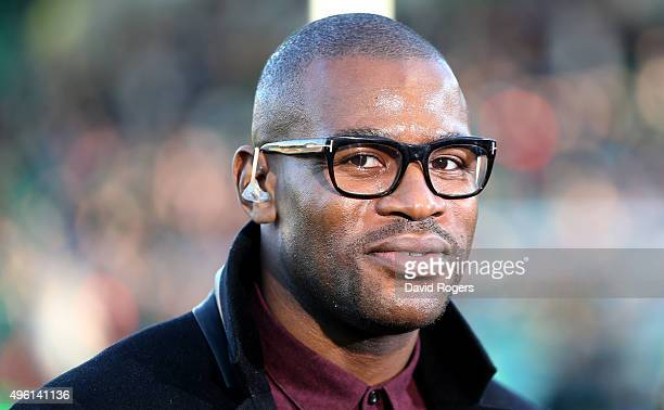Ugo Monye the former England internatiional and now BT Sport rugby pundit looks on during the Aviva Premiership match between Northampton Saints and...